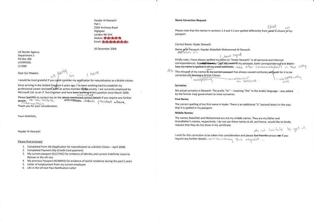 Citizen application letter draft.