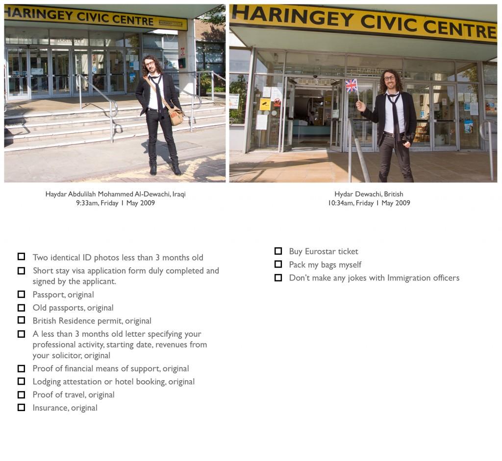 Checklist for a trip to Paris for both Haydar Abdulilah Mohammed Al-Dewachi and Hydar Dewachi.
